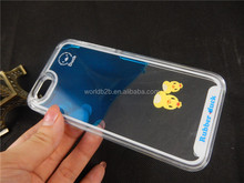 2015 new arrival lovely flowing duck liquid phone cover with best price