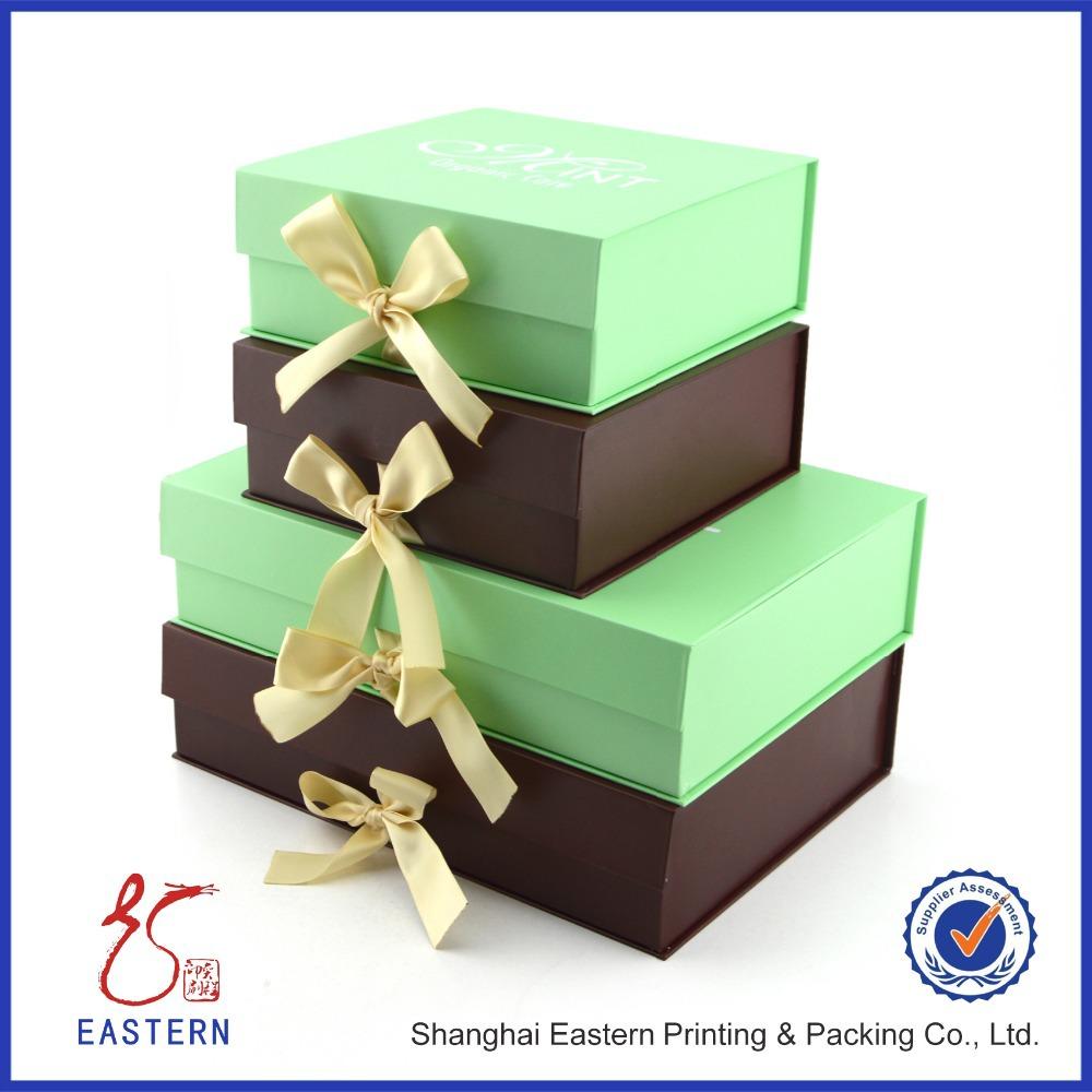 cardboard folding gift box with ribbon buy folding gift. Black Bedroom Furniture Sets. Home Design Ideas