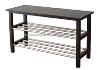 Hot sell cheap 3-tier soild pine wood shoe bench with stainess tube