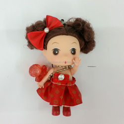 Red clothes vinyl head little girl china doll toy with mobile phone charm