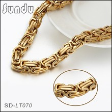 Gold plated jewelry mens stainless steel byzantine chain necklace with lobster clasp