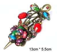 Vintage style crystal rhinestone colourful resin flower hair claws
