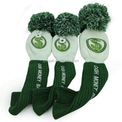 3pcs knitted driver head cover #1 #3 #5 for fairway wood green cash money baby! headcover