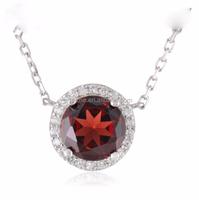 centre garnet round cubic zirconia fashion 925 sterling silver necklace for women ladies