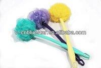 Body brush,bath scrubber with handle,PE mesh bath sponge