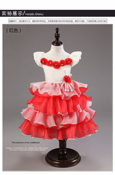 2015 summer pearl bow fashion design small girl flower pink summer fashion dress wedding dress