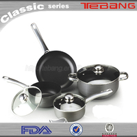 Upscale kitchen utensils 7pcs aluminum cookware set black cookware set