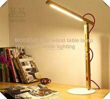 Lámpara de escritorio artística antiguo de madera clara llevó la lámpara flexible, lámpara llevada de madera