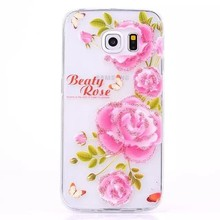 Fashionable Ultra Thin Floral Shimmering Powder TPU Back Case for Samsung Galaxy S6 edge