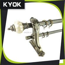 KYOK classic design curtain rod and finial,best selling cheap curtain tube whole set,good quality curtain pole