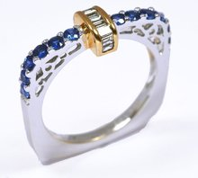 18k White&Yellow Gold Diamond and Blue Sapphire Ring