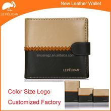 2015 factory ODM OEM brand men's genuine leather wallet