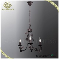 Classic black painting wrought iron 3 lights candle light