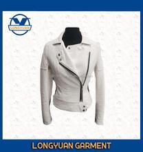 2015 Fashion white long sleeve PU jacket for ladies reasonable price waterproof