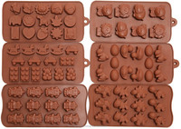 Candy Molds, Chocolate Molds, Silicone Molds, Soap Molds, Silicone Baking Molds-6pc Set- Dinosaur,Happy Faces,robots,bunny,figur