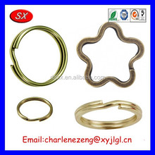 ISO / CE / ROHS Customized brass keyrings Solid Brass Split Key Rings Brass metal key ring