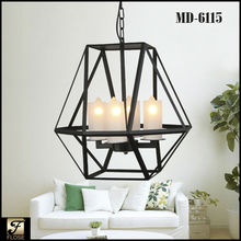 Flose MD-6115-4 antique iron polyhedron metal frame modern chandelier, led chandelier parts,iron chandelier lighting