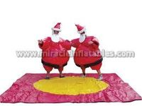 Best quality PVC & Foam filled red inflatable sumo wrestling suit for Christmas events C6021