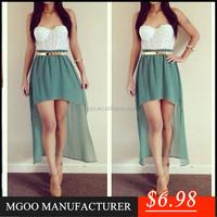 New Fancy Dress For Women Wholesale Strapless White Lace Top Chiffon Hi Low Party Dress C789