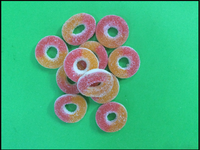 circle shape sweet gummy candy coated with sugar