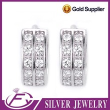 Gypsy style single cz stone designs 925 sterling silver earring