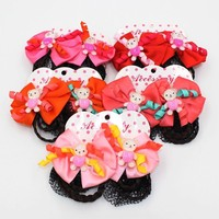 New Design HL-0195 Colorful Cute Bear Bun Cover High Quality Hair Net with Fabric for Hair Style