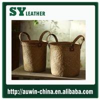 Straw Tote Bag crochet handmaded Style corn husk straw handbag women tote bag seagrass weave storage busket
