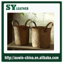 Straw Tote Bag crochet handmaded Style corn husk straw handbag women tote bag seagrass weave storage busket