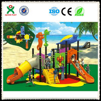 Kids outdoor tall metal playground slides curved slide / playground tube slides made in china (QX-049B)