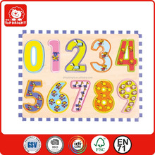 Number Graphics Wooden shape puzzle with edge declaration/3D wooden block puzzle with diferent numbers /animals shapes for kids