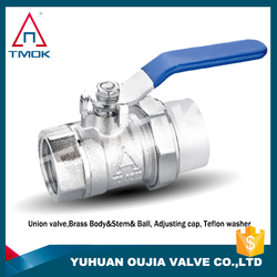 1/2 inch brass iron handle iron ball with polishing and ppr nicekl-plated low lead brass ball valve