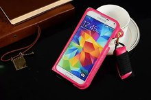 PU Leather Stand Mobile Phone Case With Card Holder&Neck Strap Case For Samsung Galaxy s5
