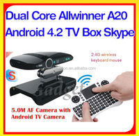 Hot 5.0MP Cam Android 4.2 Allwinner A20 Dual Core smart media player support skype with video chat