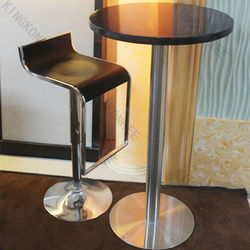 Solid surface top stainless steel single leg restaurant table