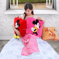 Top Selling Mickey Mouse Cartoon Blanket That Folds Into Pillow