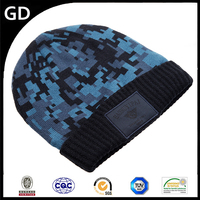 GDG1771 New design with leather lable knit multicolor winter cap for men