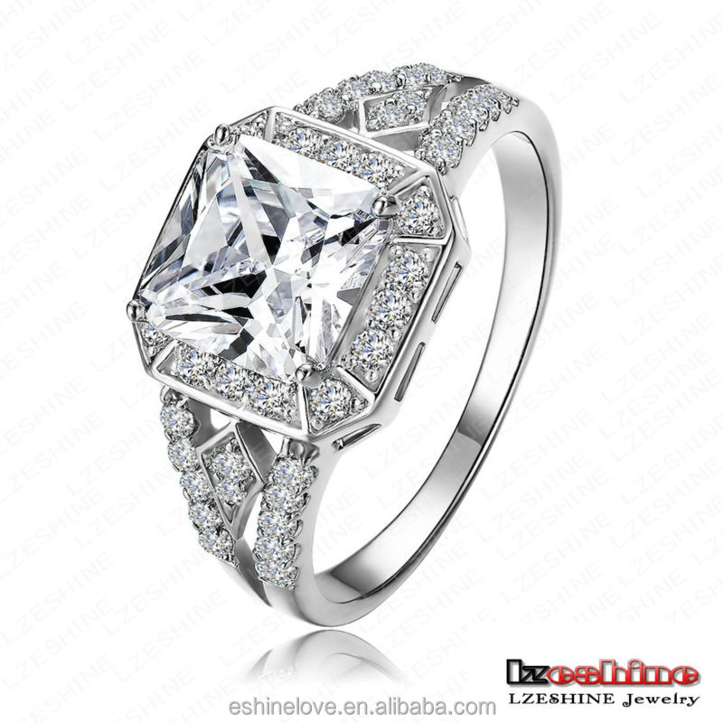 High End Real 18k Platinum Plated Copper Micro Inlay Aaa Square Shaped Zircon