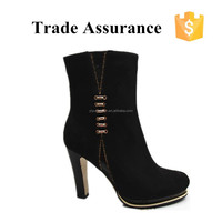 ladies neoprene Rubber outsole boots elegant sexy balck suede half boots