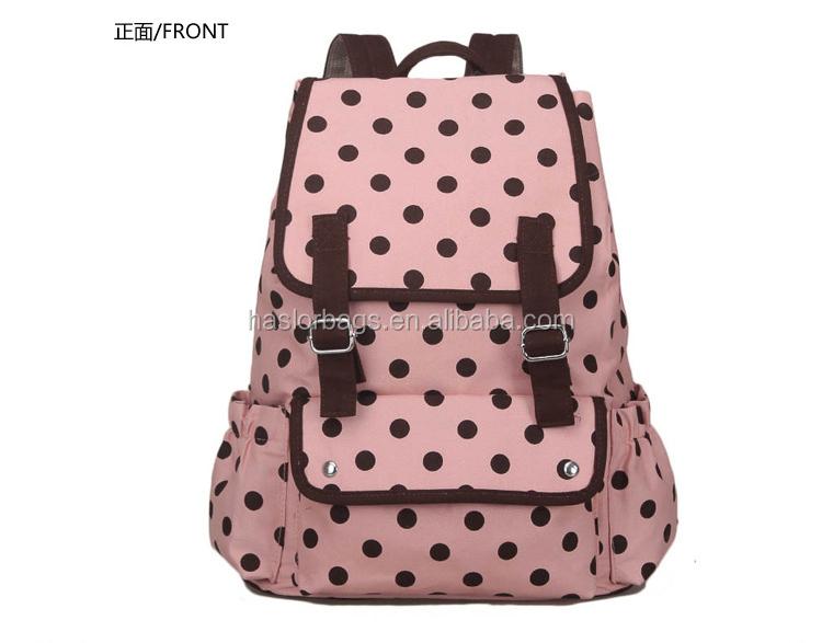 Gros mode noir et blanc polka dot sac à dos pour school girls