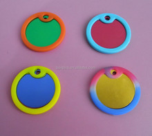 round anodized aluminum dog tag with silencer
