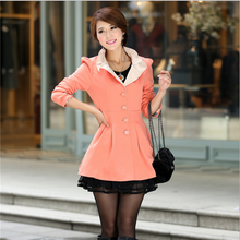 New Korean version of the fall and winter long section of the women's lace jacket stand collar jackets popular coat