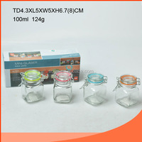 Wholesale Mini 100ml Square glass spice jar with clamp lid/glass salt and pepper shaker