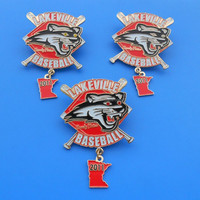 lakeville baseball trading pin with rhinestone and dangler