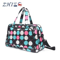 ZQ-B-040 Dongguan Polyester factory outlet BSCI Polka Dot fashion colorful lady luggage bag