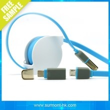 SAMPLE FREE! 2 in 1 Flat Retractable micro usb Data Cable For All Smart phones