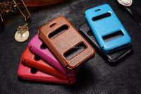 Genuine Real Dual View Window Leather Case Wallet Pouch Cover Stand Skin for Apple iPhone 4 4G 4S