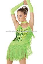 hecho a mano impresionante rebordear de salón de baile de salsa de la rumba samba ritmo tango vestido de baile latino