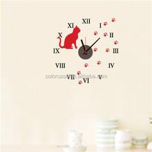 Colorcasa ZY826 3d wall sticker reloj DIY del reloj de pared decoración reloj reloj animal
