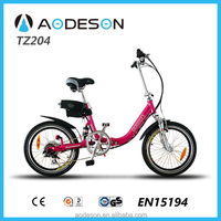 Good quality aluminium alloy 20 inch folding electric bike TZ204 ,lithium battery pocket bike with 250w 8fun motor for girls