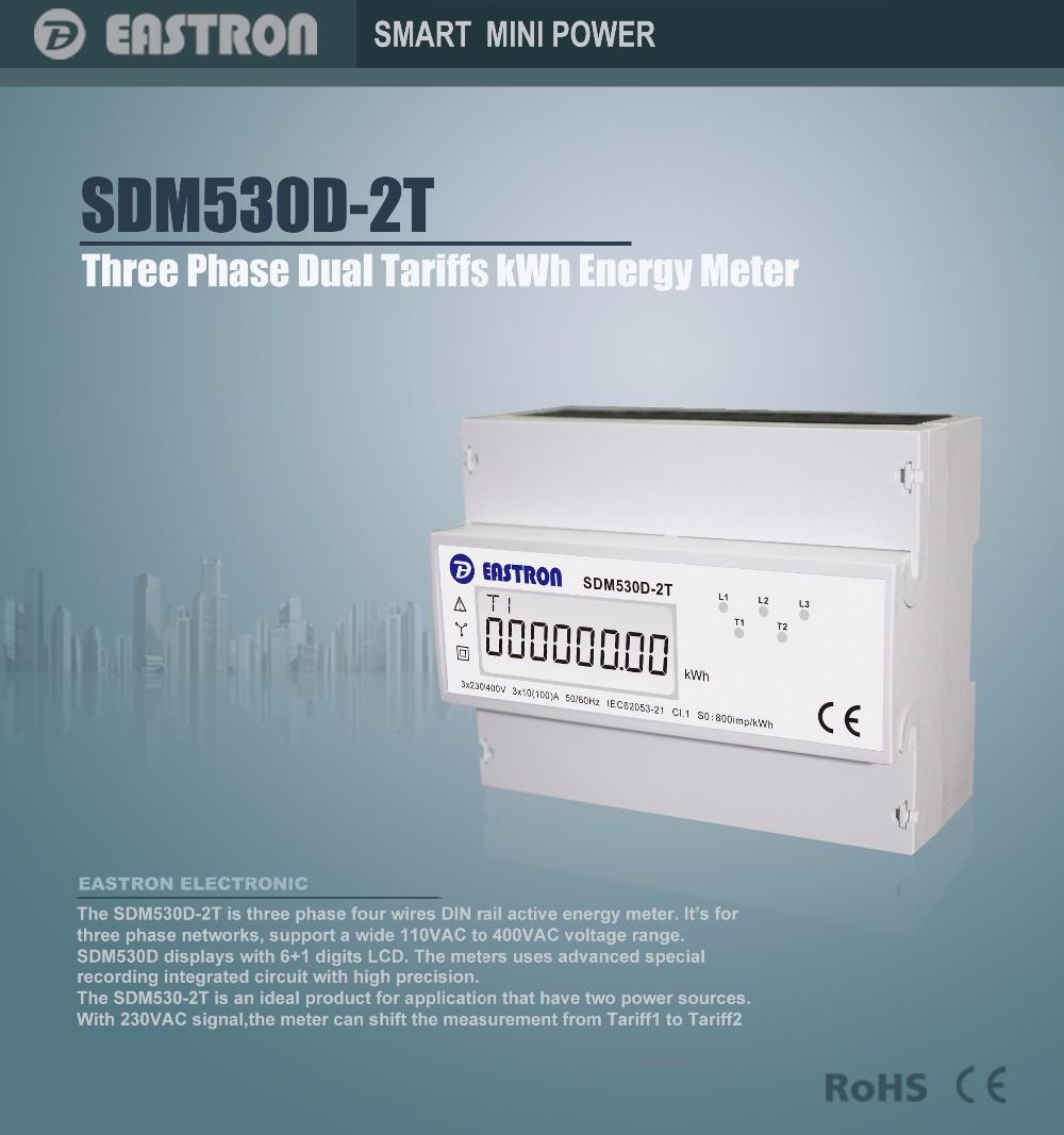 Sdm530d 2t,Three Phase Twotariffs Kwh Meter,Din Rail Kwh Power ...